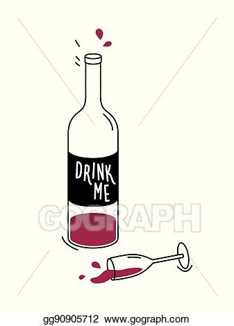 Vector illustration of red. Drinking clipart empty bottle