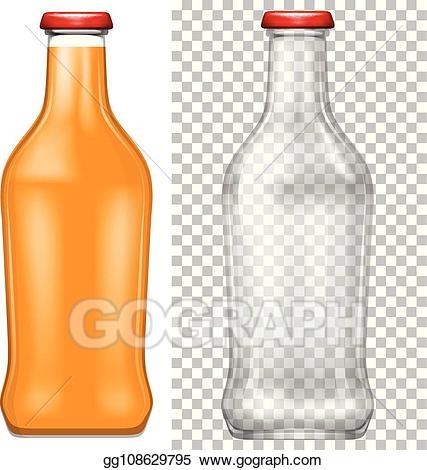 Drinking clipart empty bottle. Eps vector orange juice