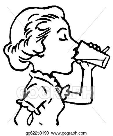 Stock illustration a black. Drinking clipart line