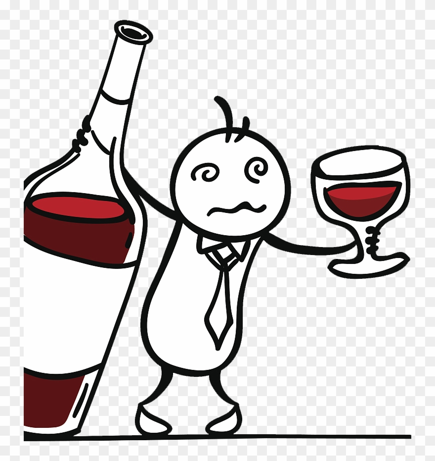 Drawing drunk man . Drinking clipart red wine