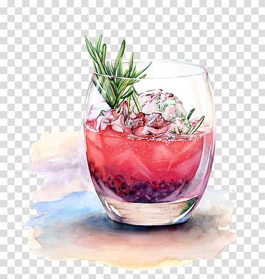 Drinking clipart watercolor. Red liquid in clear