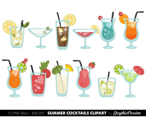 Summer cocktails cocktail clip. Drinks clipart