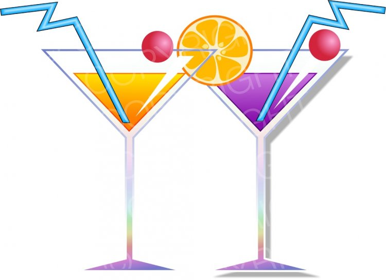 Two alcoholic coctail prawny. Drinks clipart