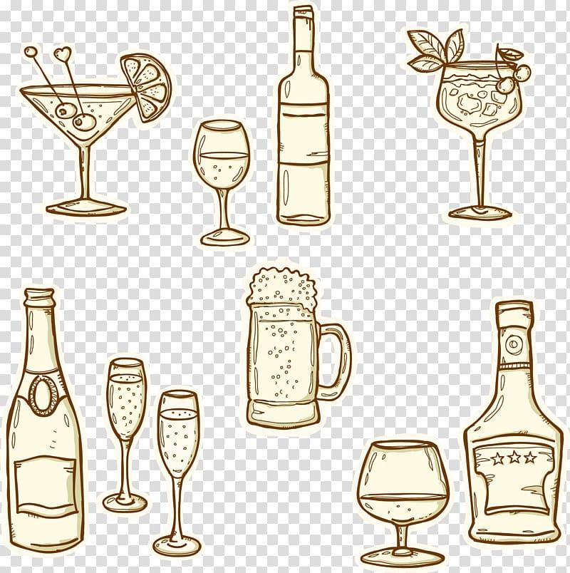 Champagne beer cognac bottle. Drinks clipart bar drink