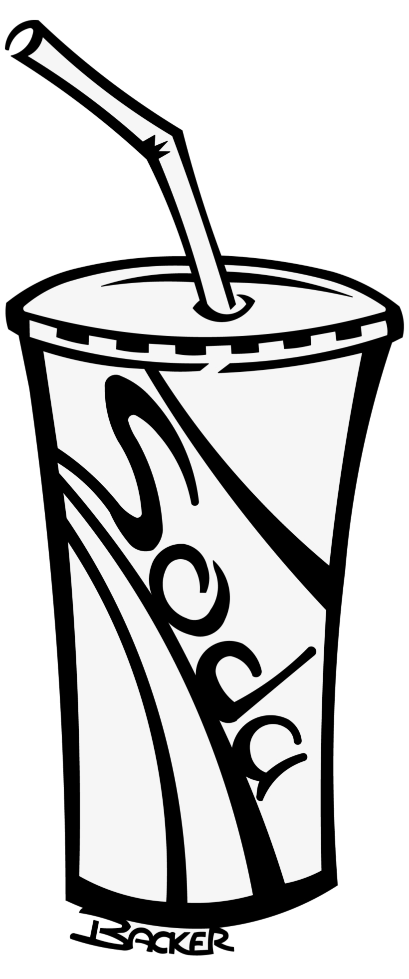 Drinks clipart black and white. Soda cup soft free