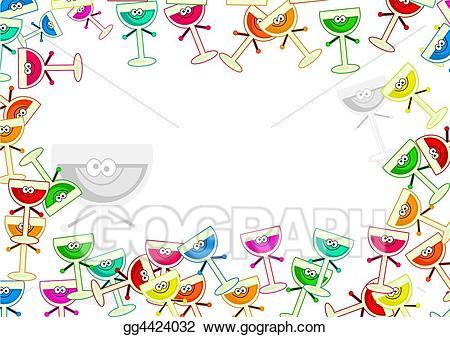Drinks clipart border. Stock illustration drawing