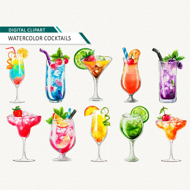 Watercolor cocktail alcoholic summer. Drinks clipart coctails