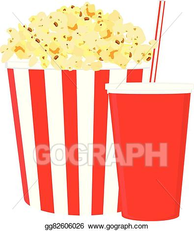 Eps illustration and drink. Drinks clipart popcorn