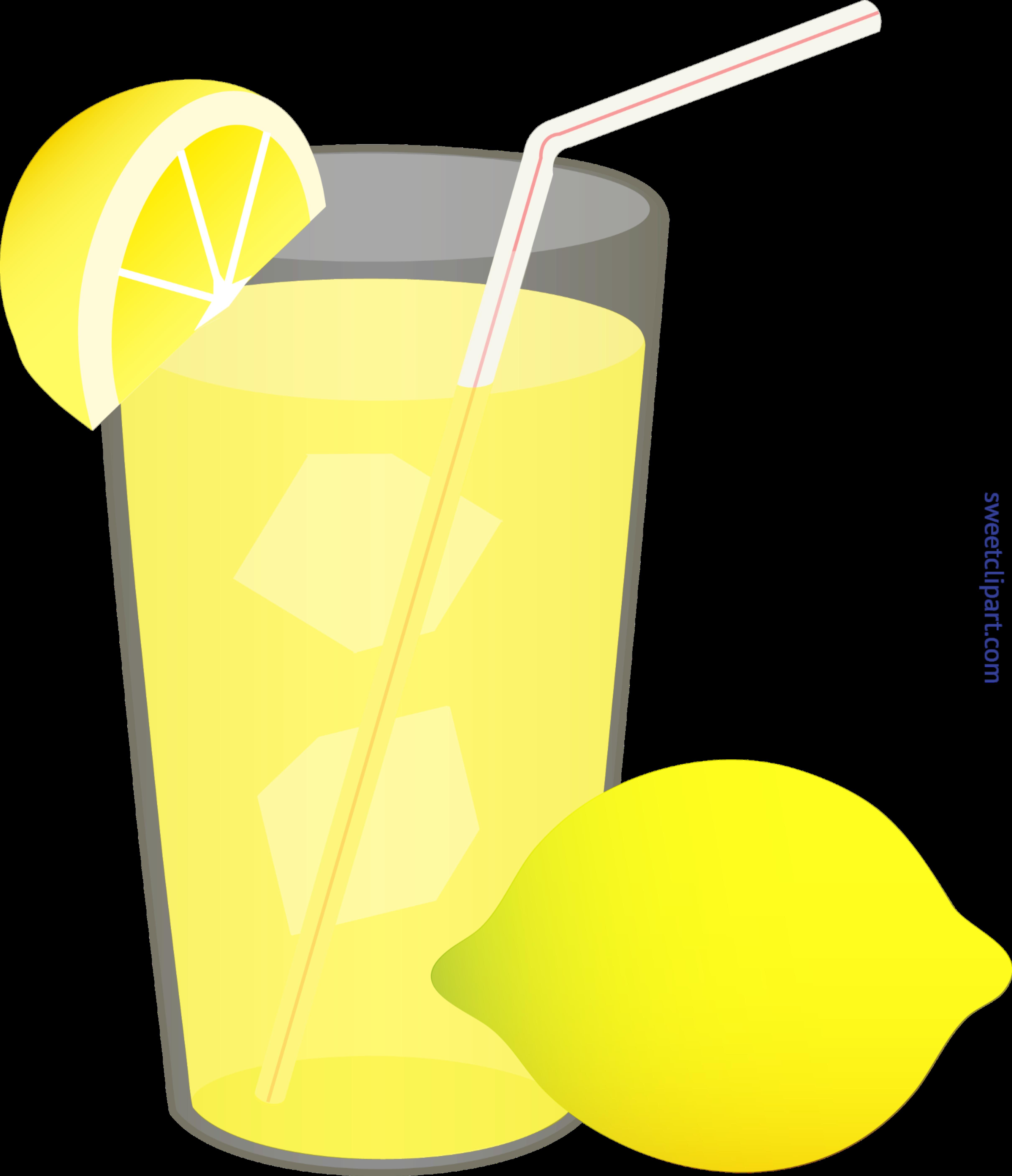 Iced lemonade straw wedge. Glass clipart lemon