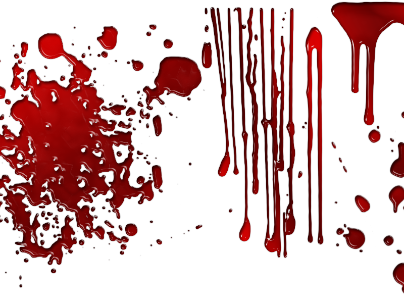 Dripping blood png. Overlay with drops splashes