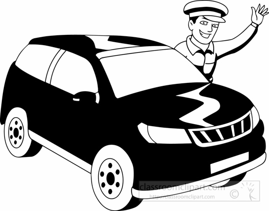 Occupations black white blackwhitedriverblackwhiteclipartjpg. Driver clipart