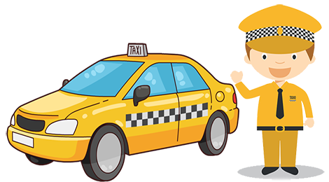 Taxi station. Driver clipart