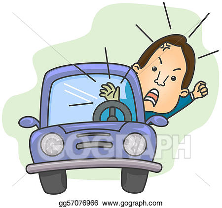 Driver clipart angry. Road rage stock illustration