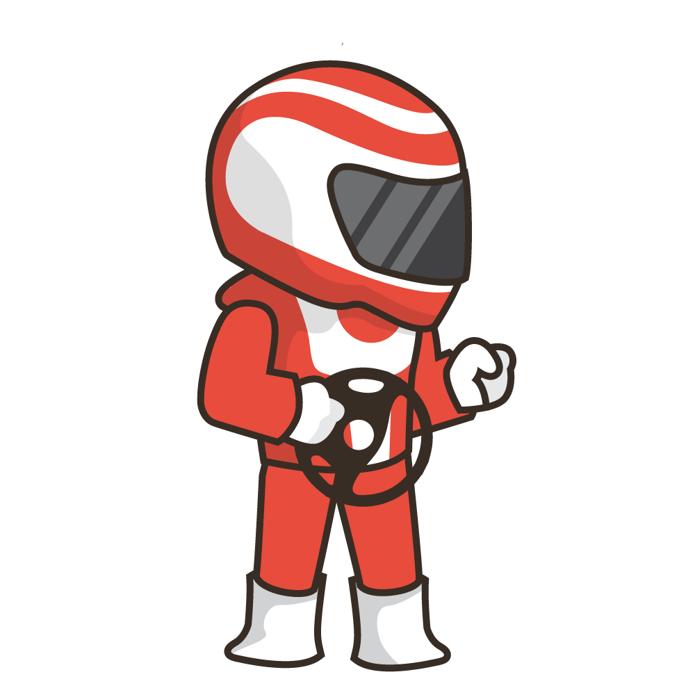 Cartoon race car image. Driver clipart animated