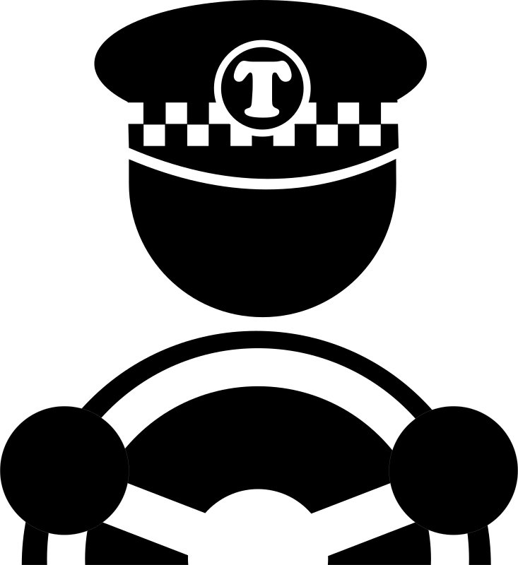 Driver clipart black and white. Taxi medium image png