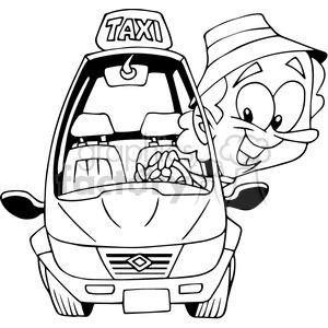 Taxi cartoon outline royalty. Driver clipart black and white