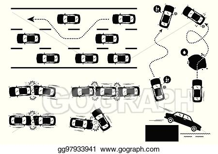 Eps illustration car accident. Driver clipart careless driving