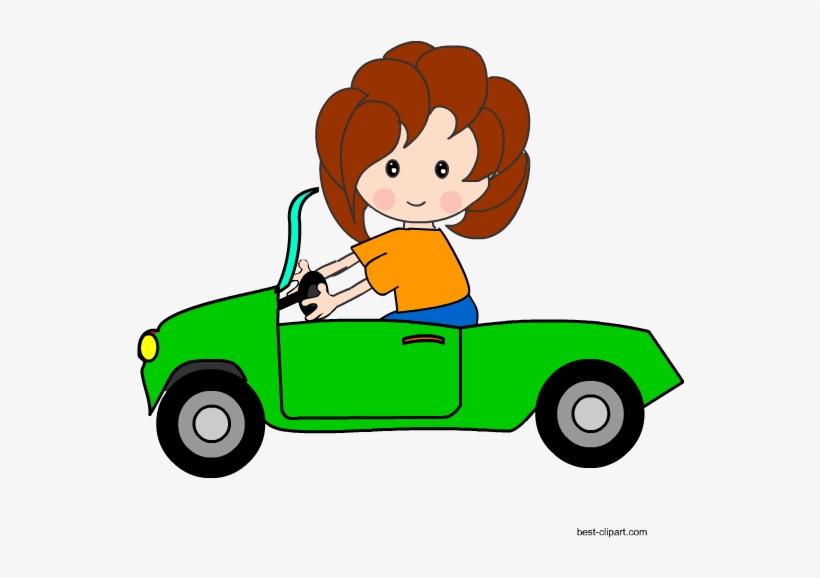 Girl driving a green. Driver clipart cute