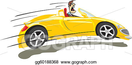 Vector crazy illustration . Driver clipart fast driver