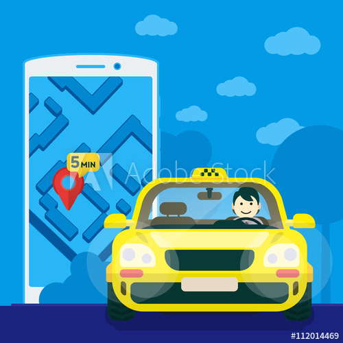 Driver clipart front. Flat yellow taxi with