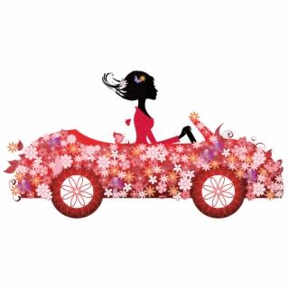 Driving pink car cartoon. Driver clipart girl driver