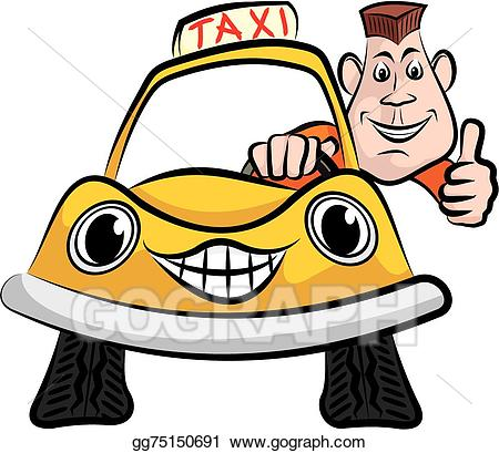 Vector art taxi eps. Driver clipart happy