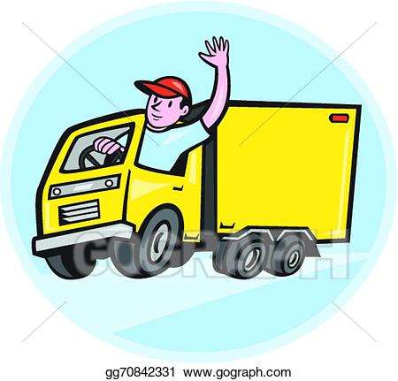 Vector illustration delivery truck. Driver clipart lorry driver