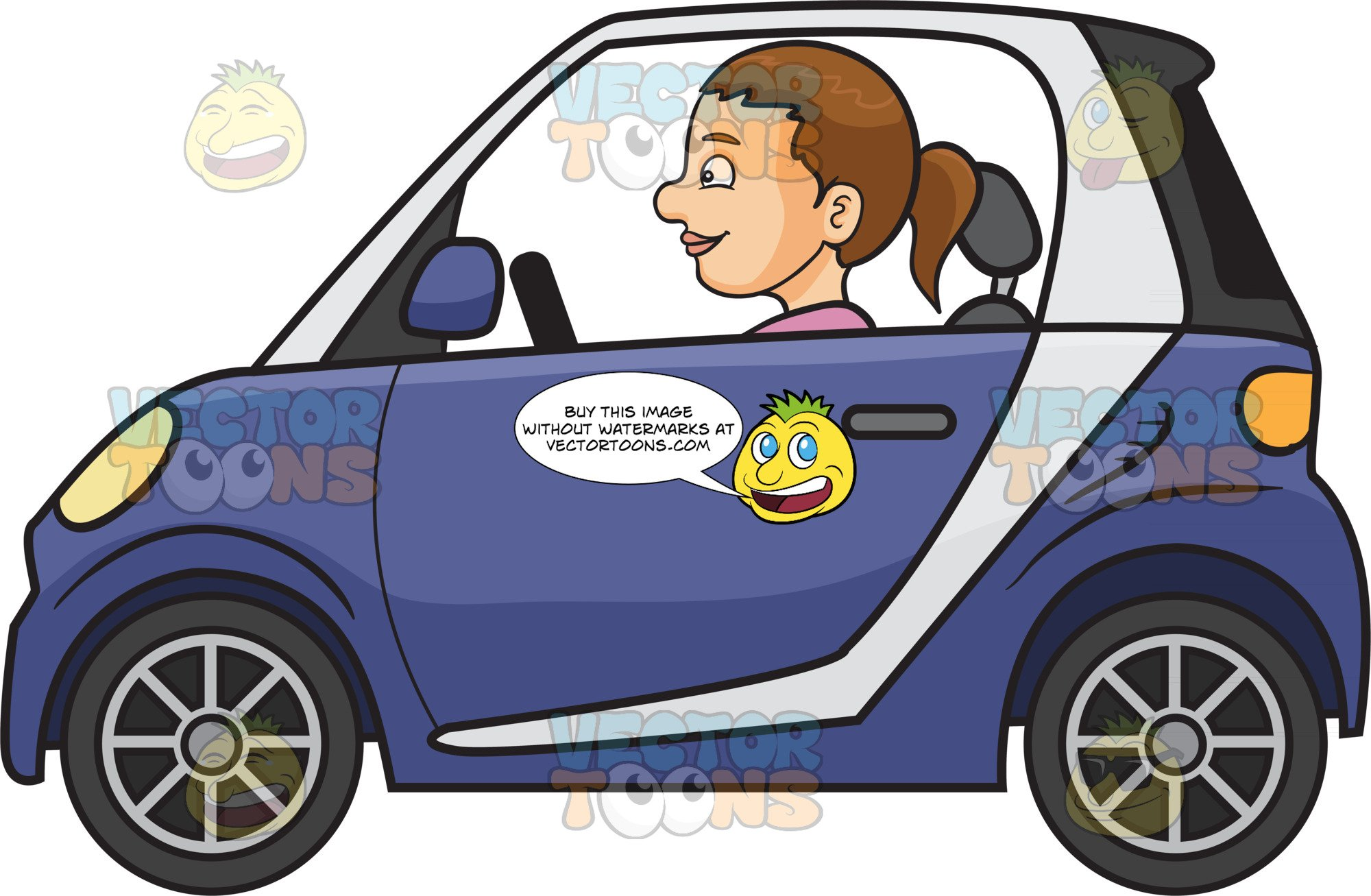 Driver clipart person. A woman driving smart