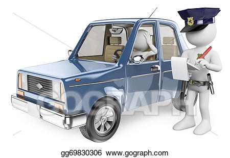 D white people imposing. Driver clipart police
