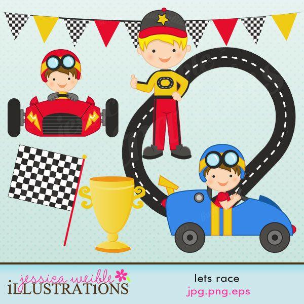 Driver clipart racer. Lets race cute digital