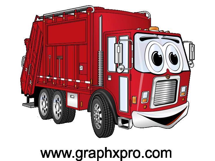 Red truck cartoon cartoons. Garbage clipart bin lorry