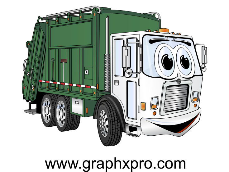 Garbage clipart bin lorry. Green white truck cartoon