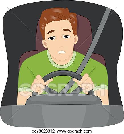 Vector stock illustration . Driver clipart sleepy driver