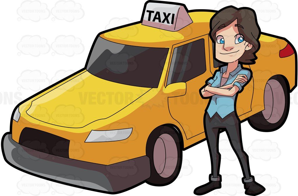 Driving clipart cab driver. A female taxi looking