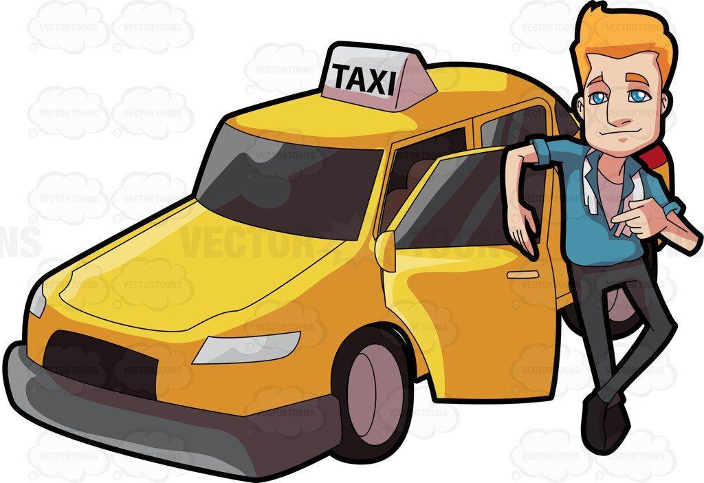 Driver clipart taxi man. A suave cartoon vector