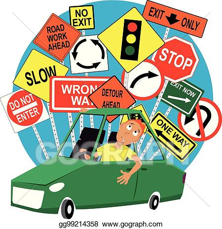 Vector art student drawing. Driver clipart teenage driver