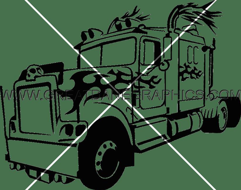 Big bad truck production. Driver clipart trucker