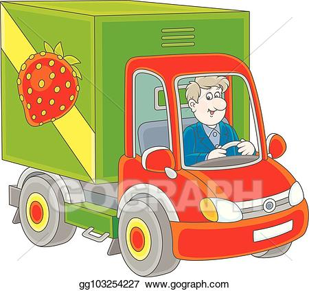 Vector truck delivering goods. Driver clipart trucker
