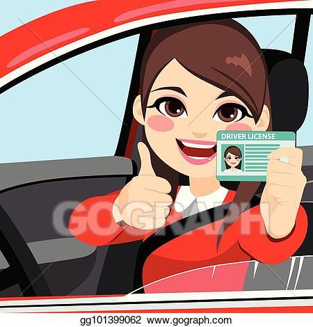Eps illustration woman driver. Drivers license clipart cartoon