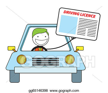Vector illustration driving licence. Drivers license clipart