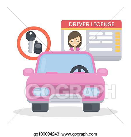 Drivers license clipart car. Eps vector woman s