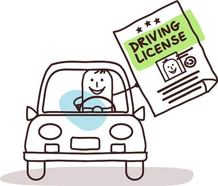 Characters and car driving. Drivers license clipart cartoon character
