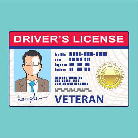 Drivers license clipart driver's license. Veteran s indicator on