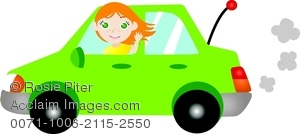 Image of a redheaded. Driving clipart