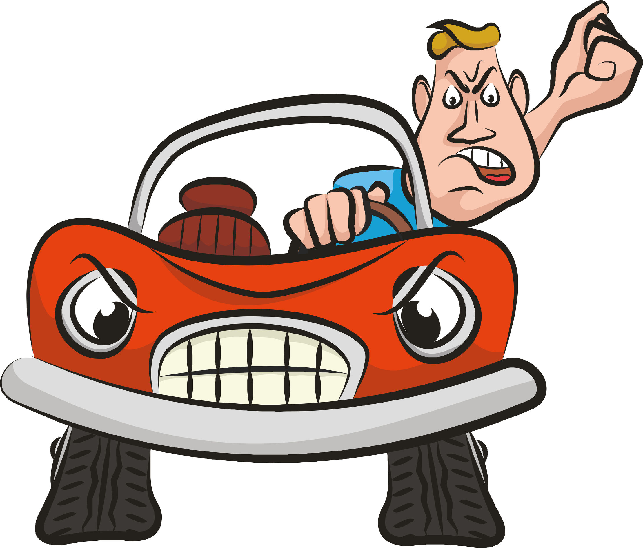 Road rage on the. Driving clipart bad driver
