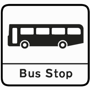 Lane signs and stops. Driving clipart bus stop sign