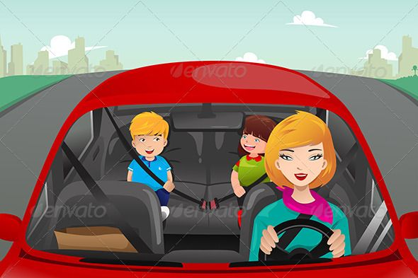 Mother with her children. Driving clipart child