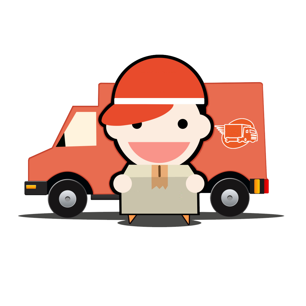 Download cartoon logistics car. Fast clipart courier boy