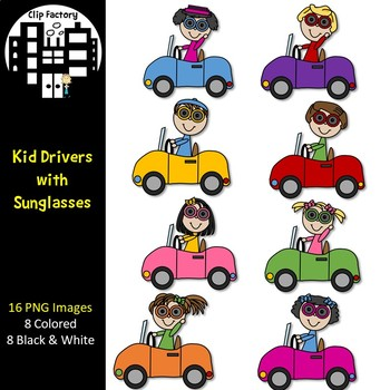 Driving clipart driver line. Kid drivers with sunglasses