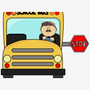Stopped school bus drive. Driving clipart magic car
